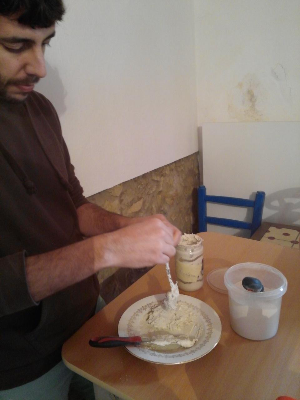Josep mixing porcelain