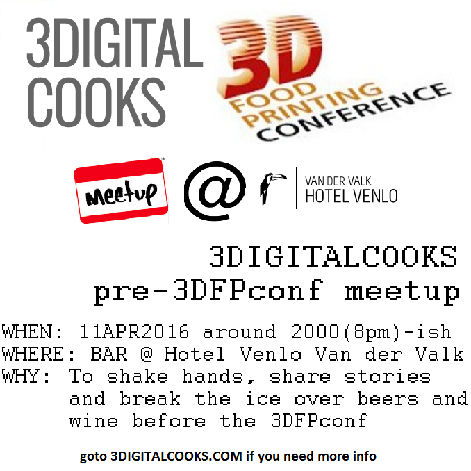2016 3d food printing conference meetup